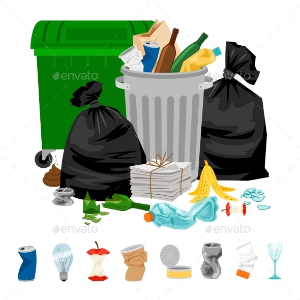 Garbage on White Background - Man-made Objects Objects