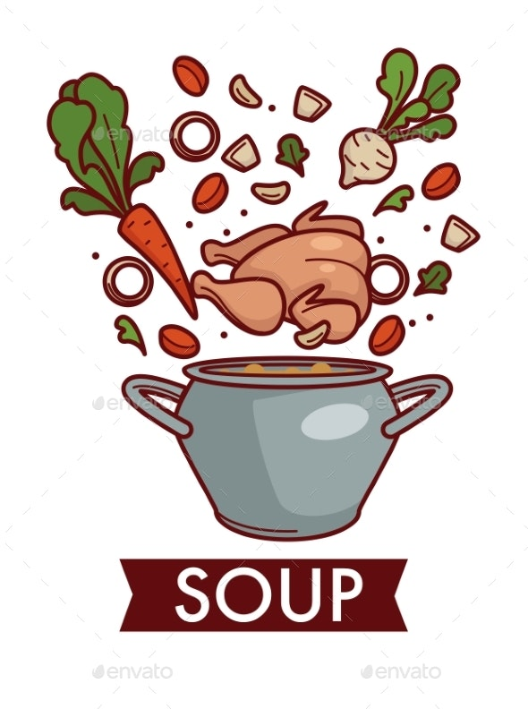 Soup or Chicken Bouillon in Saucepan Cooking - Food Objects