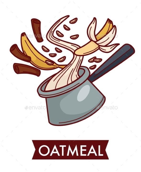 Oatmeal Dish Cereal Food with Fruit and Spice - Food Objects