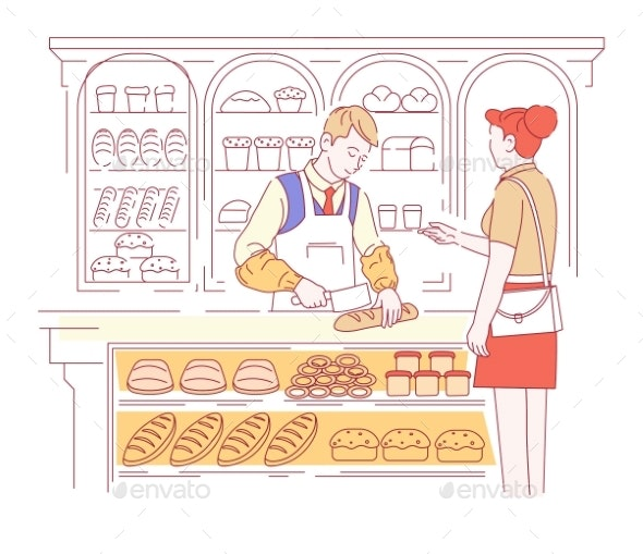 Bakery Shop Bread Loaves or Baguette Vendor - Food Objects