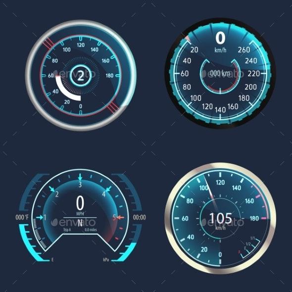 Car Speedometer or Analog Odometer - Miscellaneous Vectors