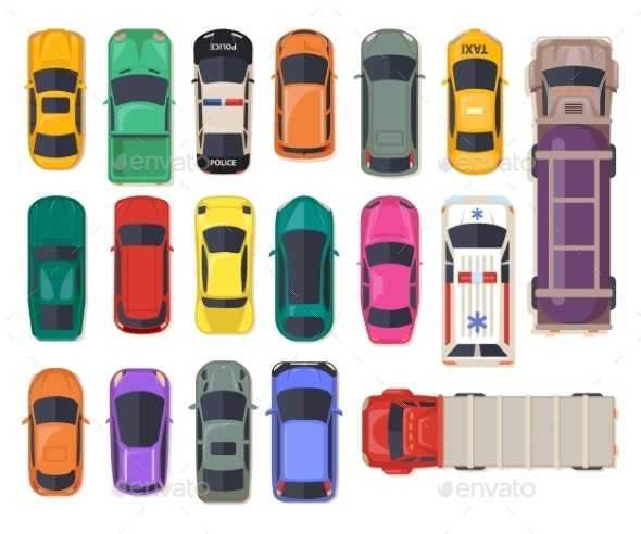 Top View on Car Auto Transport - Man-made Objects Objects
