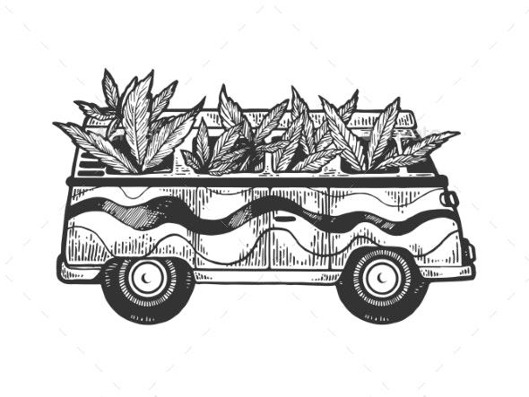 Minibus Van with Cannabis Leaf Engraving Vector - Miscellaneous Vectors