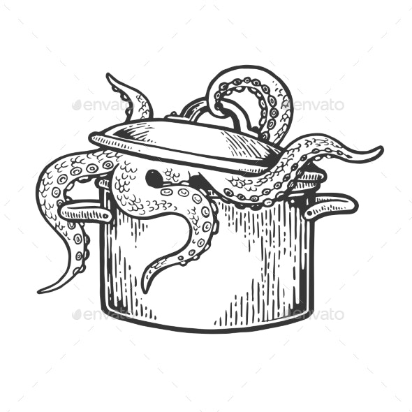 Octopus in Pan Engraving Vector Illustration - Miscellaneous Vectors