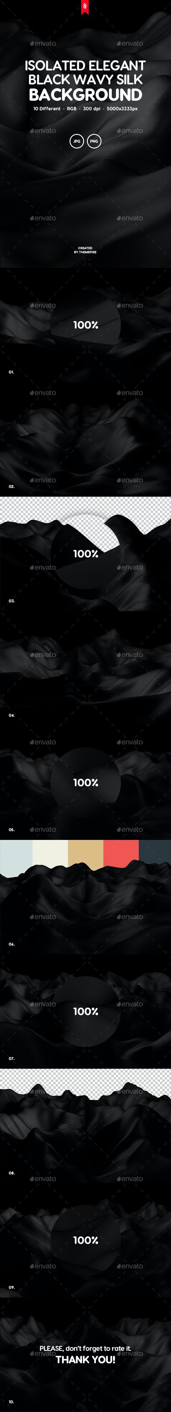 Isolated Elegant Black Wavy Silk Backgrounds - Backgrounds Graphics
