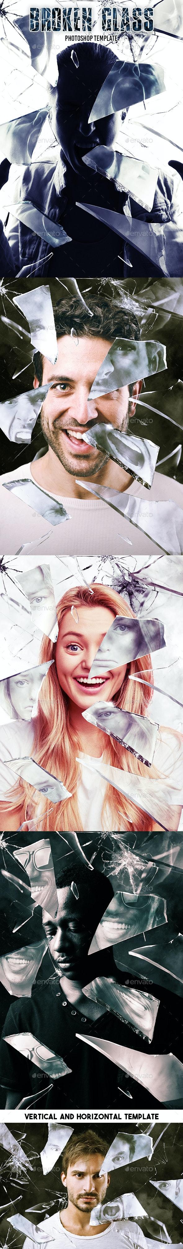 Broken Glass Photoshop Template - Artistic Photo Templates