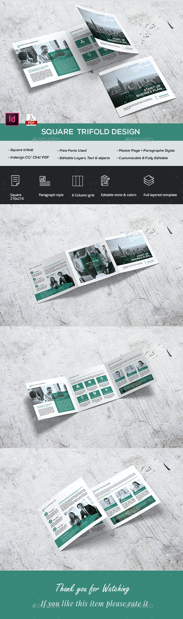 Square Start Up Trifold - Brochures Print Templates