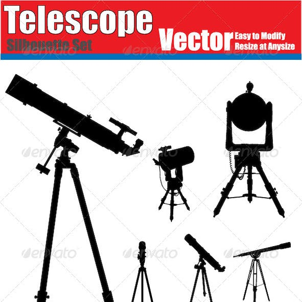 Vector Telescope Silhouette Set