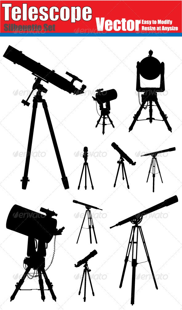 Vector Telescope Silhouette Set - Man-made Objects Objects