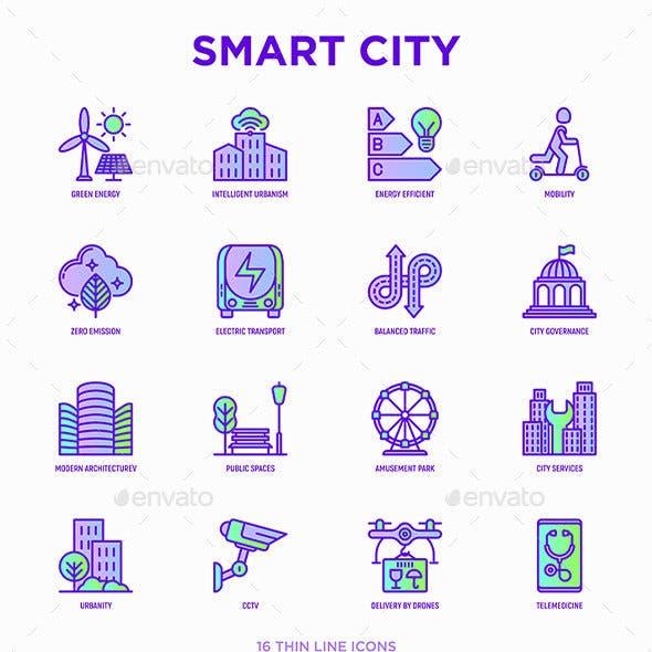 Smart City | 16 Thin Line Icons Set