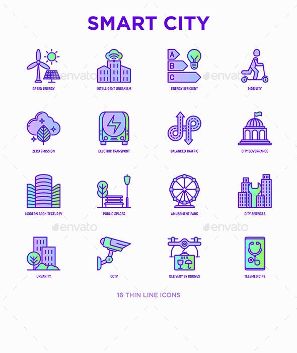 Smart City | 16 Thin Line Icons Set - Technology Icons