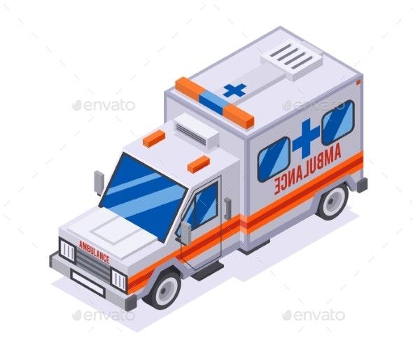 Emergency Ambulance Car Isometric Automobile Van - Health/Medicine Conceptual