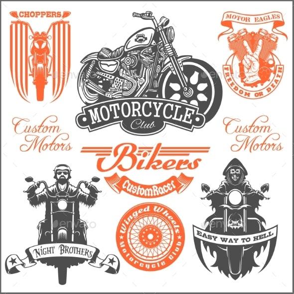 Set of Vintage Motorcycle Emblems - Miscellaneous Vectors