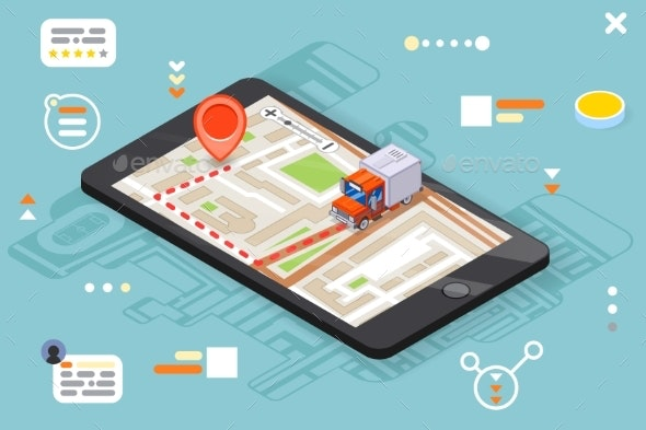 Logistic Mobile Delivery Tracking App Isometric - Man-made Objects Objects