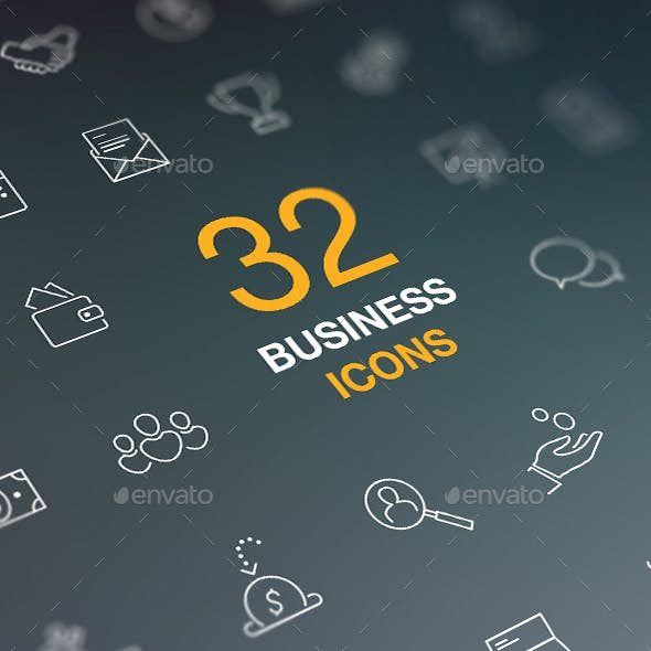 Business, Finance and Money Web Icon Set. Outline Flat Vector Icons.