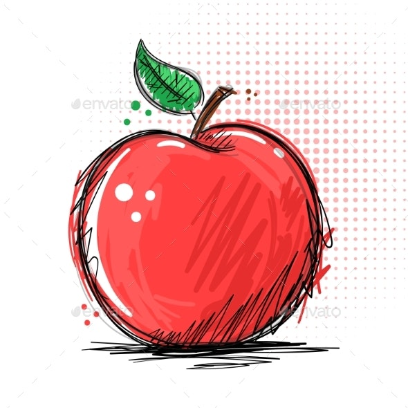 Ink and Marker - Apple Illustration - Food Objects
