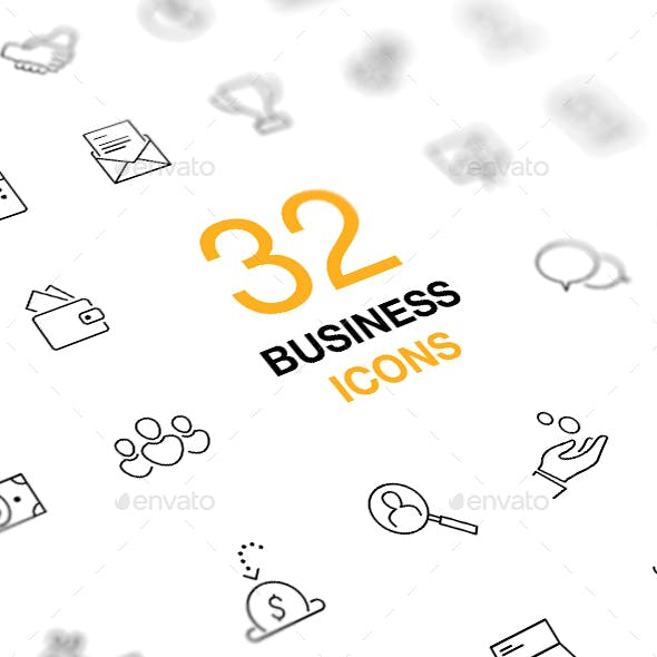 Business and Finance Icon Set. Outline Vector Icons.