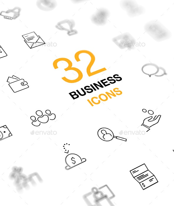 Business and Finance Icon Set. Outline Vector Icons. - Business Icons