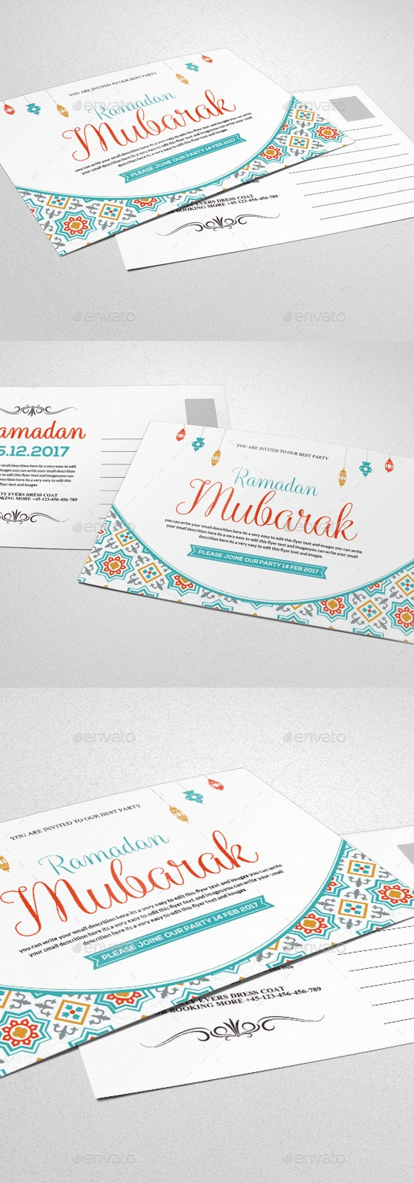 Ramadan & Eid Mubarak Greeting Card - Cards & Invites Print Templates