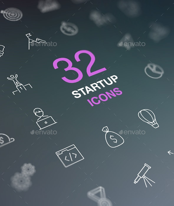 Outline Web Icon Set. Start-up business idea. - Business Icons