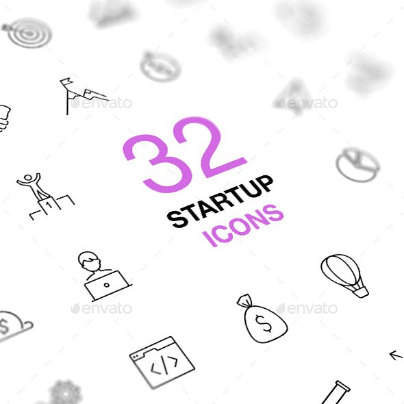 Startup Business Thin Line Icons Set
