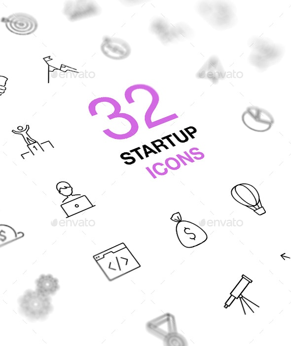 Startup Business Thin Line Icons Set - Business Icons