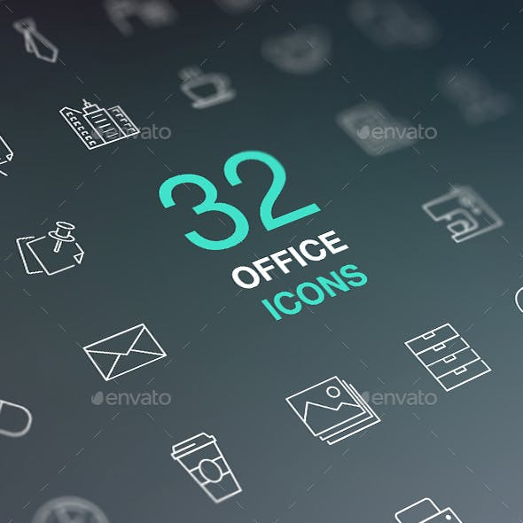 Set of Office Related Vector Icons. Business, Workplace, Office Building.