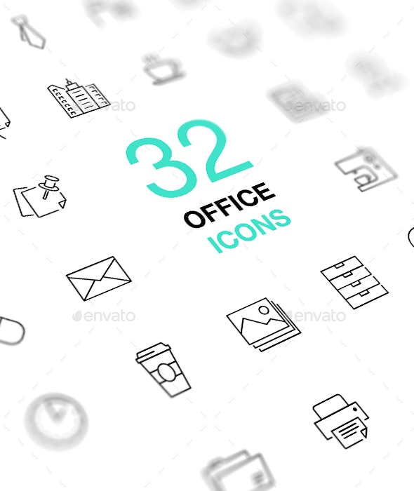 Outline Vector Icon Set. Office, Workspace. - Business Icons