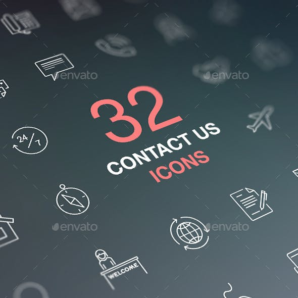 Contact Us Icons. Vector Icons Set on Dark Background