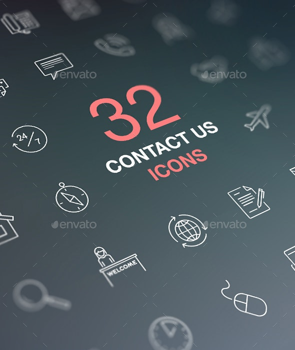 Contact Us Icons. Vector Icons Set on Dark Background - Business Icons