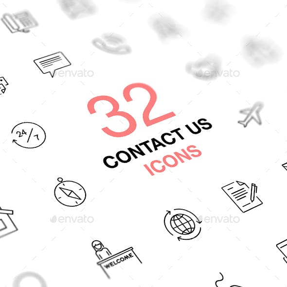 Contact Us Vector Icons Set. Business, office, work.