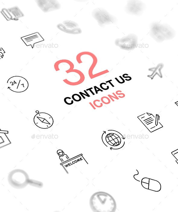 Contact Us Vector Icons Set. Business, office, work. - Business Icons