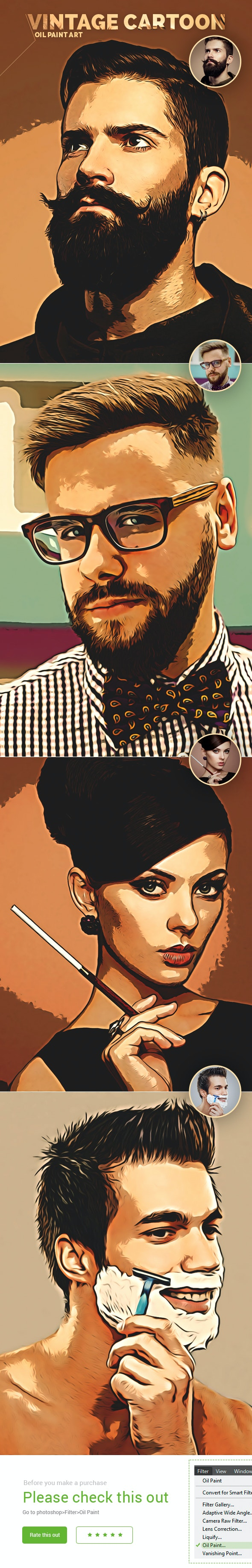 Vintage Cartoon Art - Photo Effects Actions