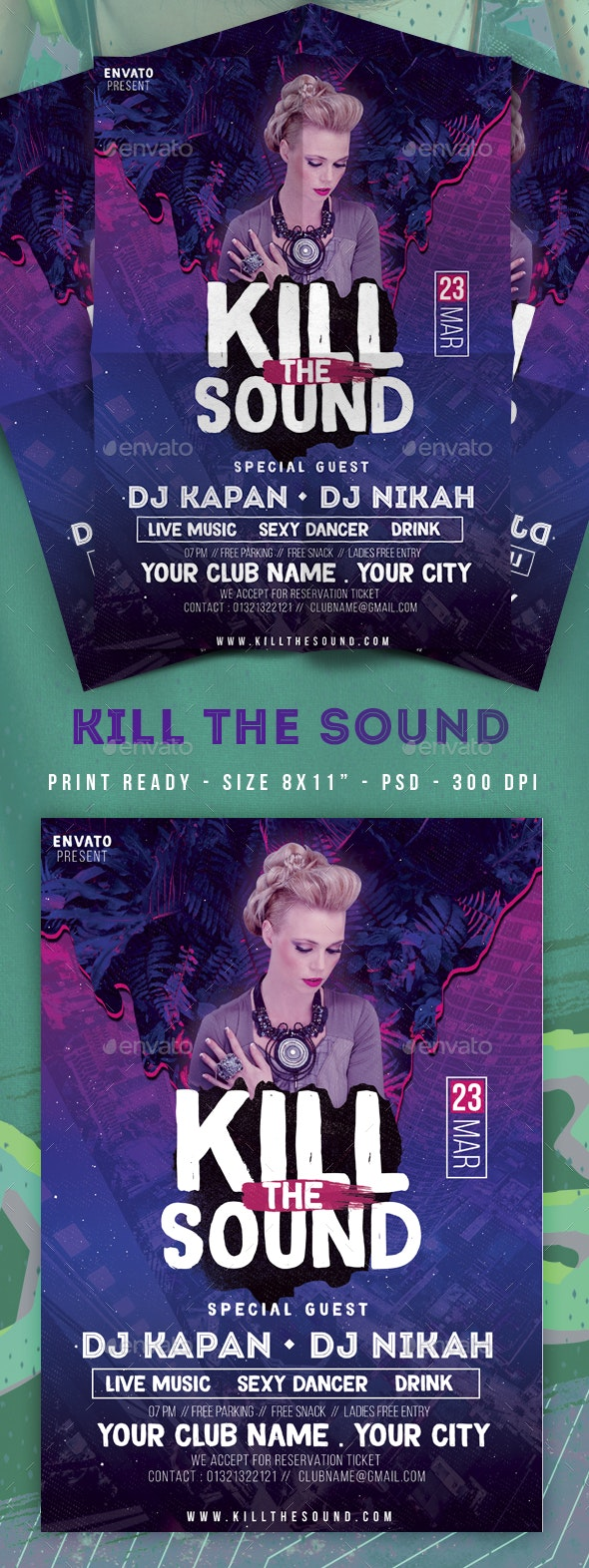 Kill The Sound Club Party Flyer - Clubs & Parties Events
