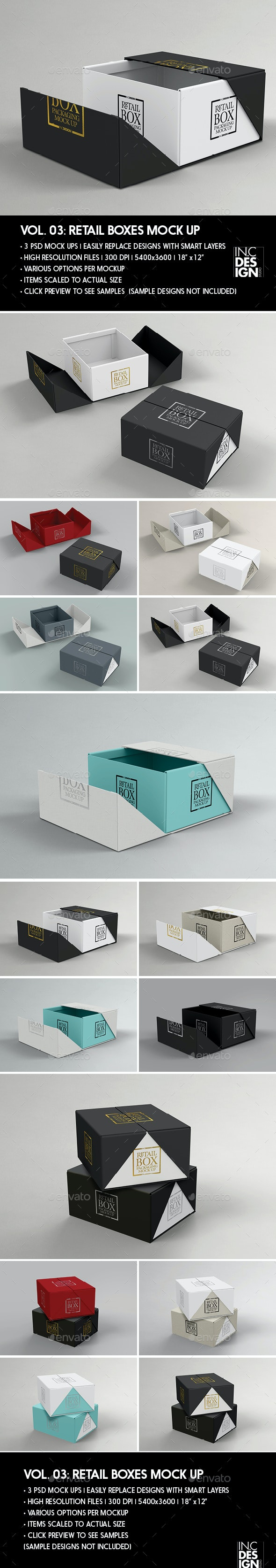 Retail Boxes Vol.3: Fold Up Box Packaging Mock Ups - Packaging Product Mock-Ups