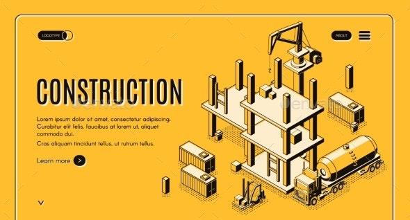Construction Project Isometric Vector Web Banner - Industries Business
