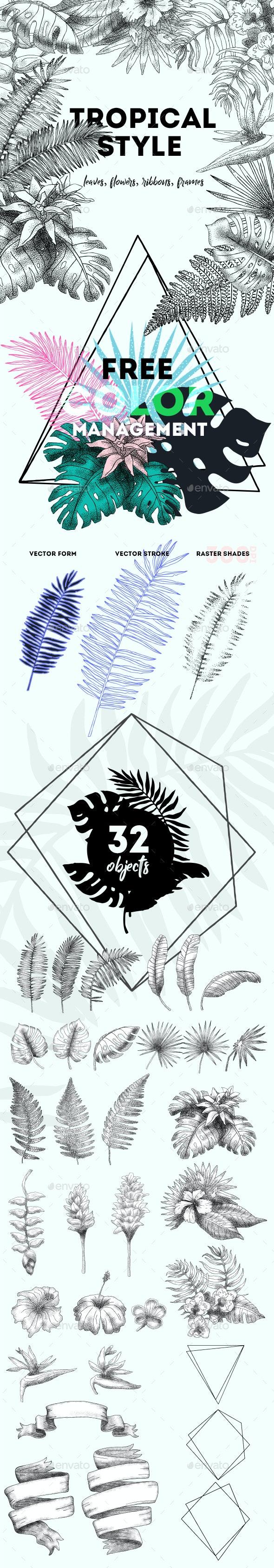 Tropical Style Elements Set. vol.-01 - Flourishes / Swirls Decorative