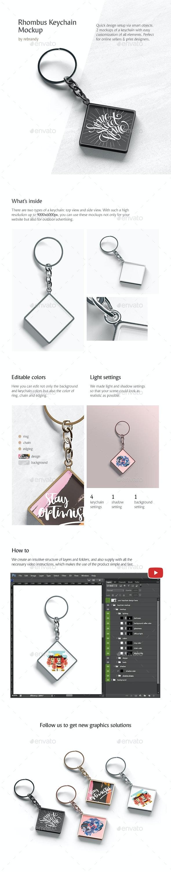Rhombus Keychain Mockup - Product Mock-Ups Graphics