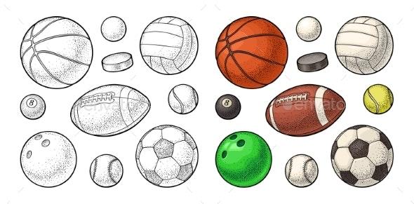 Set Sport Balls Icons - Sports/Activity Conceptual