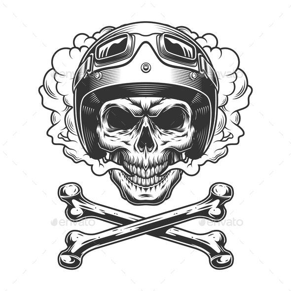 Vintage Motorcyclist Skull - Miscellaneous Vectors