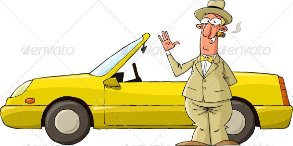 Yellow Car - People Characters