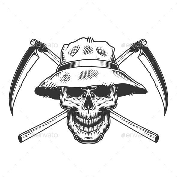 Vintage Skull in Panama Hat - Miscellaneous Vectors