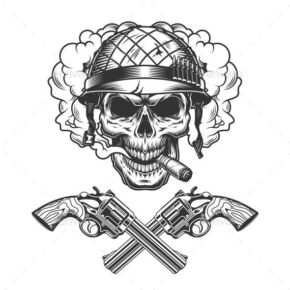 Vintage Monochrome Soldier Skull Smoking Cigar - Miscellaneous Vectors