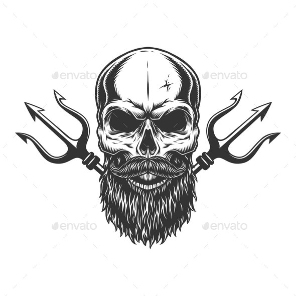 Bearded and Mustached Skull - Miscellaneous Vectors