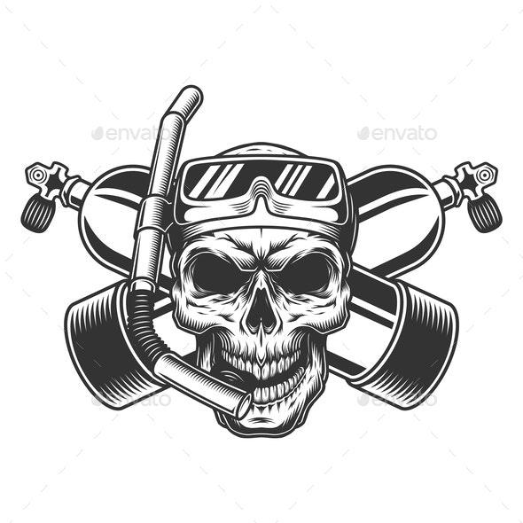 Diver Skull in Scuba Mask - Miscellaneous Vectors