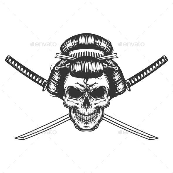 Vintage Monochrome Geisha Skull - Miscellaneous Vectors