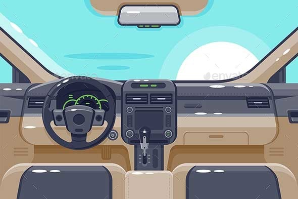Flat Insides of Car Interior with Transmission - Man-made Objects Objects