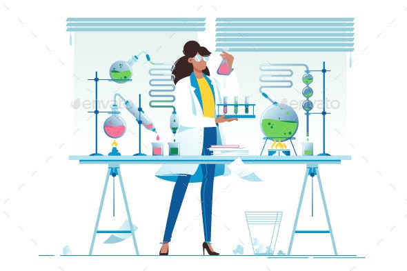 Young Woman Chemist with Flasks - Miscellaneous Vectors
