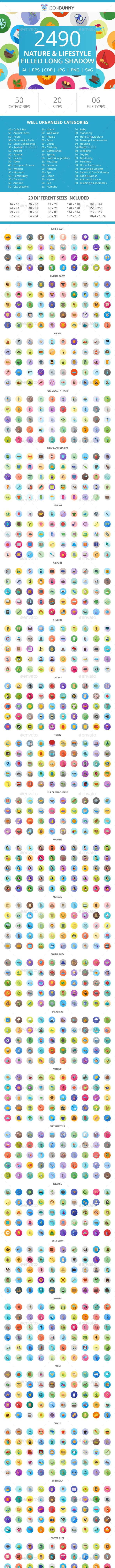 2490 Nature & Lifestyle Flat Long Shadow Icons - Icons