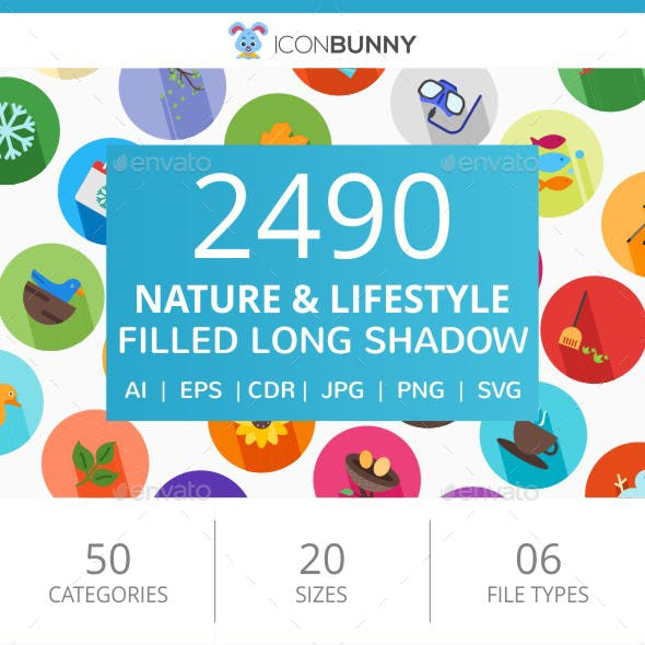 2490 Nature & Lifestyle Flat Long Shadow Icons